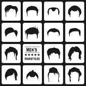 Different types of Mens haircuts. Vector Illusatrtion poster