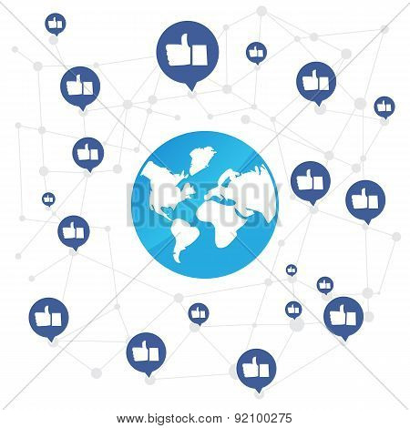 World connection with like icon on white background vector illustration poster