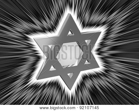 Stylized Image Of The Star Of David In The Monochrome Version In The Radiance Rays