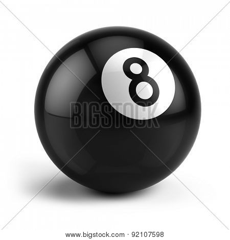Billiard Snooker eight ball isolated on a white
