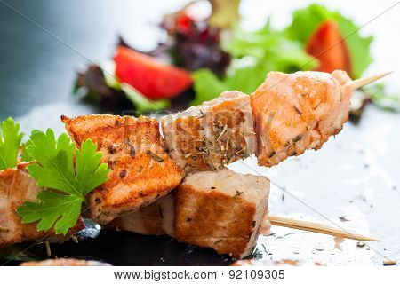 Appetizing Salmon And Tuna Skewer.