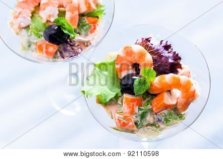 Top View Of Seafood Cocktail Starter.