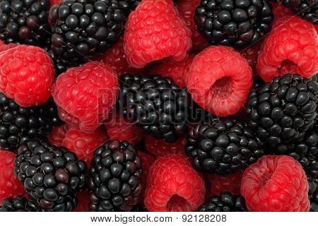 Background Made From Raspberries And Blackberries