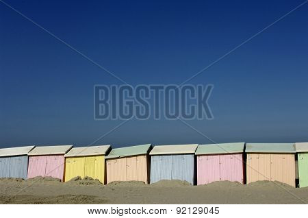 France colored beach huts in Berck in Nord Pas de Calais poster