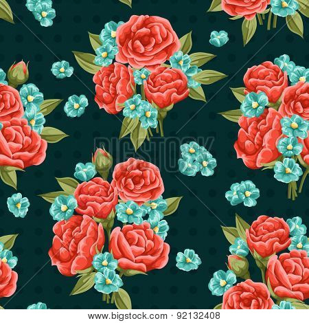 Seamless pattern with beautiful red roses in watercolor style