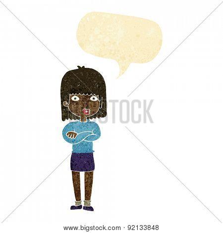cartoon impatient woman with speech bubble
