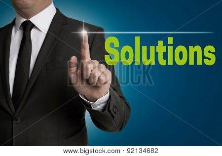 Solutions Touchscreen Is Operated By Businessman.