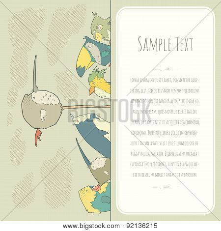 Cute doodle birds greeteng or invitation card with place for your text.