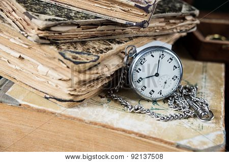 Old Books And  Pocketwatch