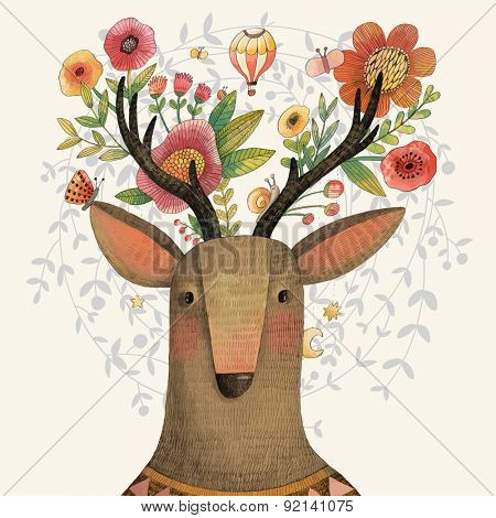 Incredible deer with awesome flowers. Lovely spring concept design in vector. Sweet deer and flowers made in watercolor technique