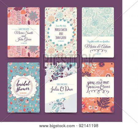 Lovely wedding romantic collection with 6 awesome cards made of hearts, flowers, wreaths, laurel, butterflies and birds. Graphic set in retro style. Sweet save the date invitation cards in vector.