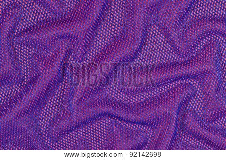 Blue Crumpled Nonwoven Fabric On A Red