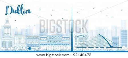 Outline Dublin Skyline with Blue Buildings, Ireland