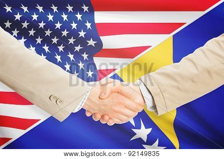 Businessmen shaking hands - United States and Bosnia and Herzegovina poster