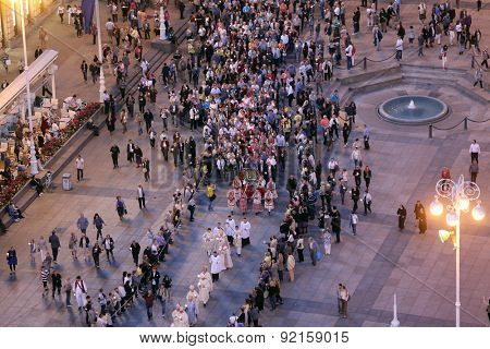 ZAGREB, CROATIA - MAY 31, 2015: Procession through the streets of the city for a day Our Lady of the Kamenita vrata, patroness of Zagreb, led by Cardinal George Pell and Cardinal Josip Bozanic.