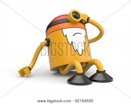 Old orange robot with headaches