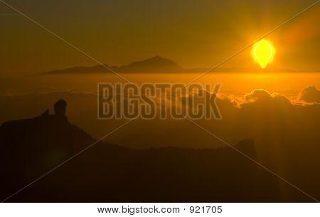 Roque Nublo At Sunset