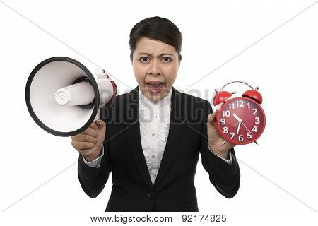 Business Woman Using A Megaphone Tell No Time