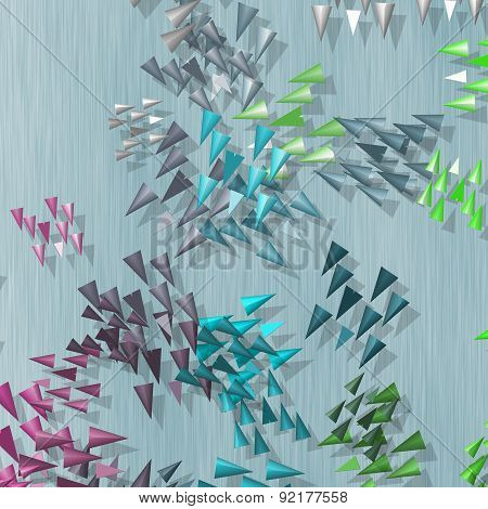 Plenty Of Colored Spikes Scattered On Blue Background