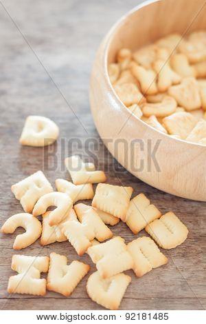 Alphabet Biscuit In Wooden Tray