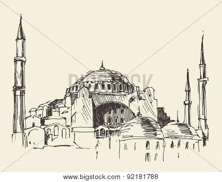 Istanbul, Turkey, Hagia Sophia, Engraved Sketch