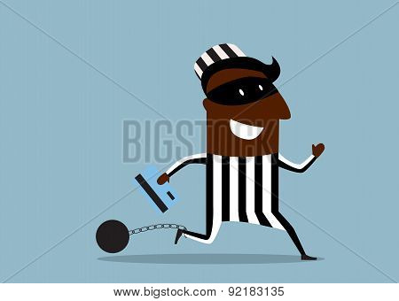 African hacker prisoner wearing a mask and striped prison clothes running with stolen credit card and ball with chain attached to his foot poster