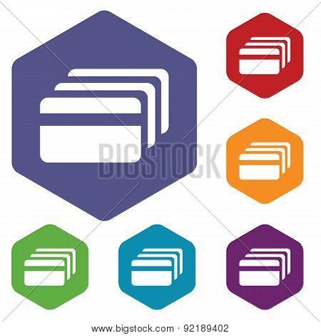 Credit card hexagon icon set