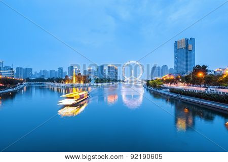 Beautiful Tianjin Haihe Rive In Nightfall