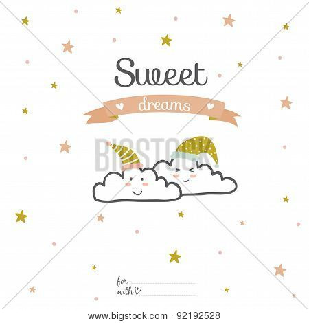 Inspirational and love card with romantic typography. Sweet dreams