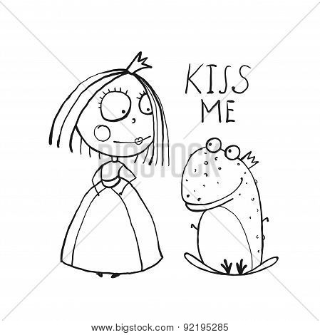 Baby Princess and Frog Asking for Kiss Coloring Page