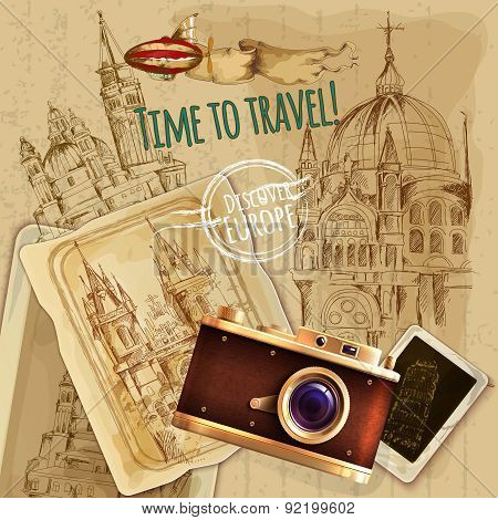Europe Travel With Camera Vintage Poster