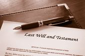 Last Will and testament document with pen poster