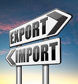 import export international and global trade freight transportation road sign arrow poster