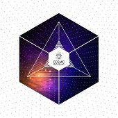 Hipster triangular colorful cosmic background with Light, Shining Stars, Stardust and Nebula. Vector Illustration for artwork, party flyers, posters, banners. poster