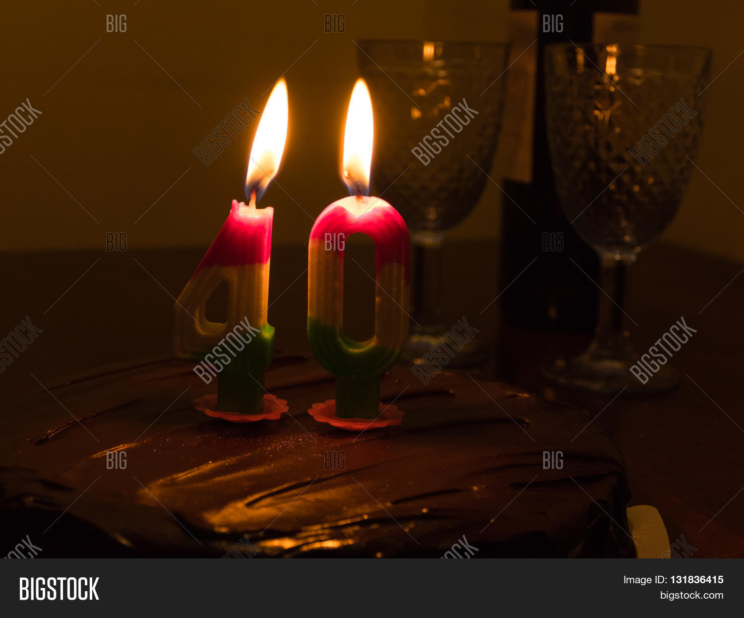 40 Candle On Chocloate Image Photo Free Trial Bigstock