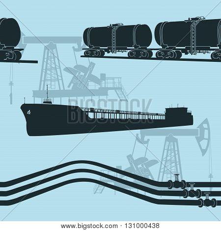 seamless oil transportation: marine tanker rail tanker pipelines on a blue background