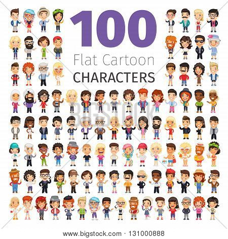 Big set of 100 casually dressed flat cartoon people. Isolated on white background. Clipping paths included.