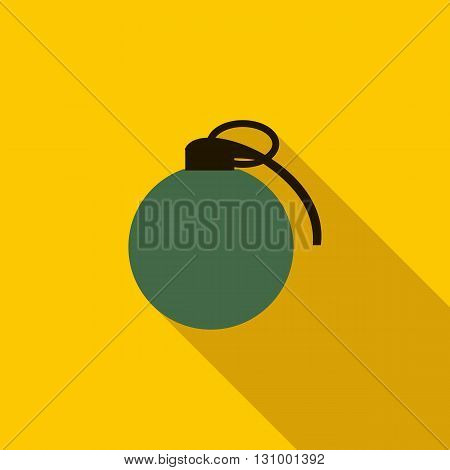 Grenade army weapon icon in flat style on a yellow background