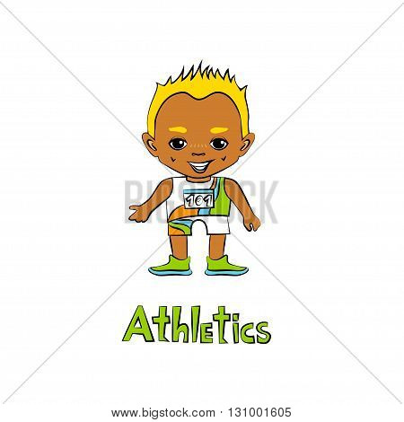 Vector cartoon boy athelete in big head style