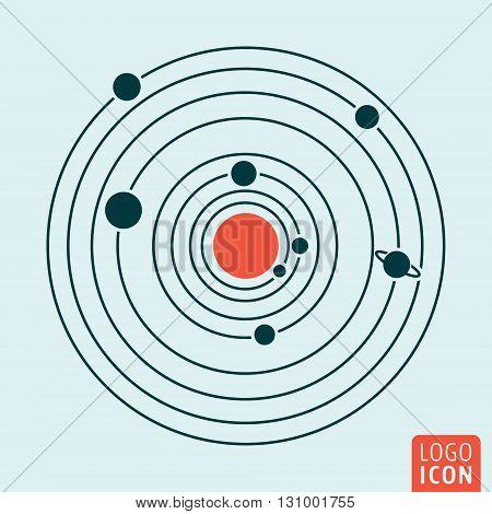Solar system icon. Solar system symbol. Vector illustration
