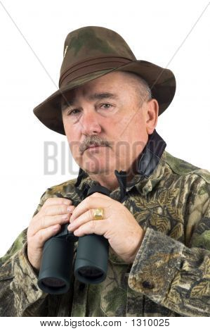 man in camouflage clothing with binoculars on a white background poster