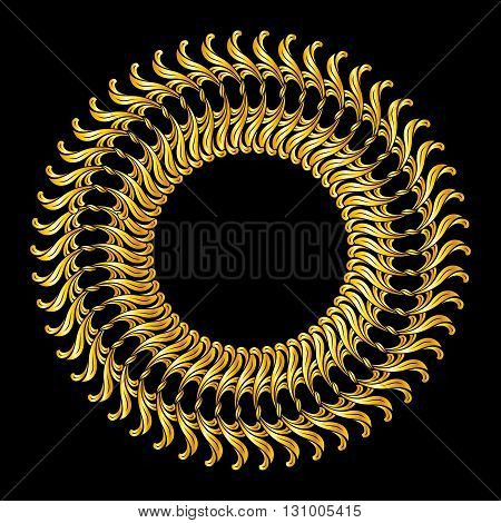 Abstract florid pattern in gold colors on black background