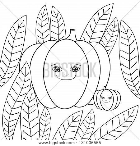 Cute pumpkins coloring book. Happy Mother Pumpkin and baby Pumpkin in whimsical garden. Vector illustration kids coloring pages.