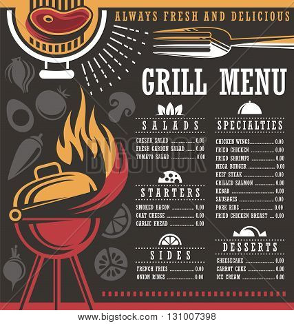 Grill menu print template. Restaurant menu layout. BBQ menu. Barbecue menu concept on dark background. Chalkboard menu for fast food restaurant.  Document template. Print mock up.