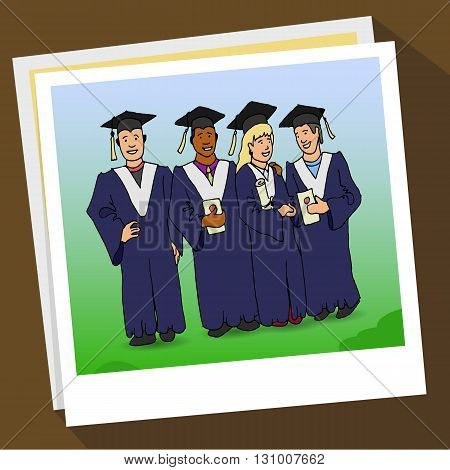 Students Graduation Celebration. hand drawn vector stock illustration. Happiness Concept