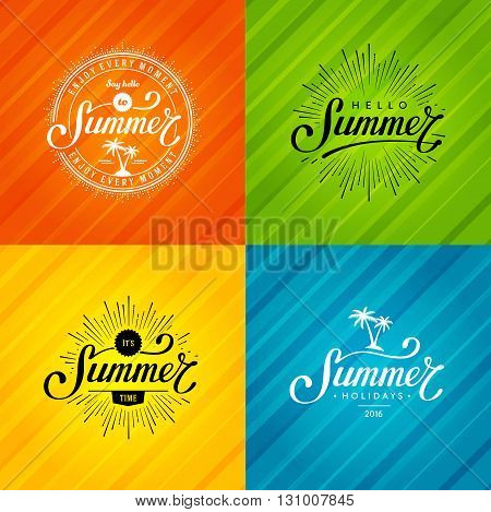 Set of Summer emblems. Hand drawn typographic design for summer sign, summer badge, t-shirt print,  summer postcard or summer poster. Vector illustration.