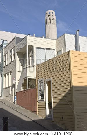 San Francisco neighborhood near Coit tower California.