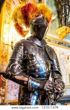 TURIN ITALY - APRIL 25 2016 - armour of a Medieval knight in the Royal Armoury of Turin one of the world's most important collections of arms and armour located in the Royal Palace.