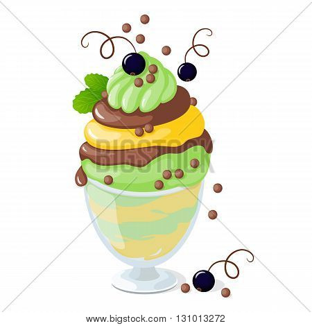 Vector illustration isolated currant ice cream or frozen yogurt in the glass bowl on the white background. eps10
