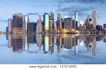 Manhattan skyline New York USA at a night